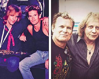 Glenn Symmonds has been the drummer for Eddie Money since the band's earliest days. Symmonds is battling cancer now but still is touring with the band, including Friday's concert in Warren. The photos above show Symmonds and Money in the band's heyday and today.