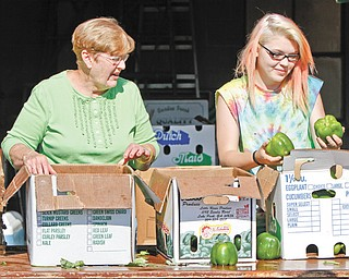 Sue Engler, left, of Braceville is helped by her granddaughter, Hannah Engler, a student at LaBrae High School, with Warren Emmanuel Lutheran Church's produce distribution. Engler and her husband, Randall, organize the church's distribution programs.