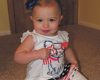 Isabella Atsas, looking cute in her red, white and blue, but don't let the cuteness fool you! Sent by her mom, Kate Atsas of Boardman.