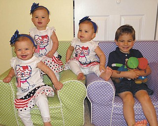 Isabella, Olivia and Julia, 14-month old triplets, and Nicholas Atsas, 4. Sent by their mother, Kate Atsas of Boardman.