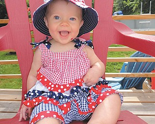 Julia Putko, six-months, of Boardman, is the daughter of Jim and Casey Putko. She is red, white and beautiful for her first 4th of July!
