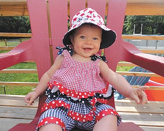 Six-month-old Julia Putko of Boardman, is all smiles in her red, white and blue.