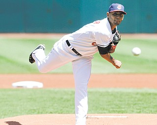 Cleveland Indians starting pitcher Danny Salazar delivers a pitch in the first inning of a game Thursday against the Toronto Blue Jays in Cleveland.