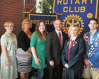 SPECIAL TO THE VINDICATOR The Rotary Club of Youngstown installed officers for the 2013-2014 term at the Youngstown Country Club on July 3. Debbie Esbenshade, the new district 6650 governor, presided. Esbenshade is a 17-year Rotary member and the third female governor of the district. The members also said goodbye to Gauthier Gaillard, a French foreign exchange student. Above, from left are Carol Chamberlain, treasurer; Becky Keck, vice president; Lisa Long, chairwoman of New Generations Avenue of Service; Scott Shulick, president; Esbenshade; and Gaillard.