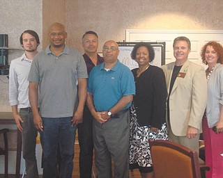 SPECIAL TO THE VINDICATOR Youngstown Executive 408 Toastmasters installed officers at a regular meeting July 1 at Shepherd of the Valley in Poland. From left are John Kocjancic, sergeant at arms; Mark Williams, outgoing president and newly installed treasurer; Ed Metzinger, former secretary; Art Byrd, vice president of public relations; Deidre Windom, vice president of membership; Mike Gerrick, vice president of education; and Dena DeLuco, president for 2013-14. Brian McGowan installed the officers. The club meets at 6:45 p.m. Mondays at Shepherd of the Valley, 301 W. Western Reserve Road, Poland. For information visit www.speakingclub.org or contact Byrd at 330-559-3349 or email artbyrdagain@yahoo.com. You also can Twitter at Toastmasters 408 or visit Facebook.