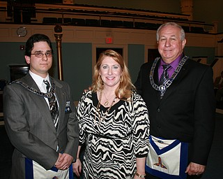 SPECIAL TO THE VINDICATOR: Wick Lodge 481 of Youngstown sponsored a fundraising dinner earlier in the summer and raised more than $1,600. The money was donated to Boys and Girls Club of Youngstown. From left are Michael Masterbaradino, master of Wick Lodge; Rachel Kerns, representing Boys and Girls Club; and Gary Shane, senior warden of the lodge.