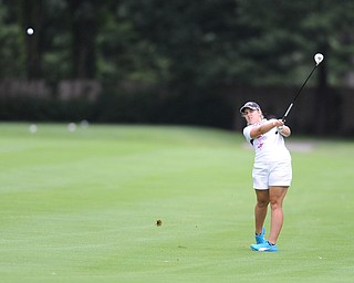 Fontaine McFeaters shoots her approach shot on a hole on the back 9 Sunday afternoon at Trumbull Country Club.