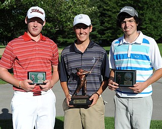 Billy Colbert, center, won the Boys 15-17 division of the 2013 Greatest Golfer of the Valley presented by Farmers National Bank at Trumbull Country Club. Jason McQuown, right, won second, and Nolan Snyder won third. The three tied at 78s along with Nick Braydich. Colbert won on the first playoff hole. The other 3 players needed a second playoff hole to settle the other placements.