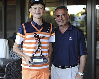 Ken Keller stands with Trumbull Country Club Head Pro John Diana after winning the 12-14 boys division of the Greatest Golfer of the Valley presented by Farmers National Bank played Sunday, July 28, 2013.