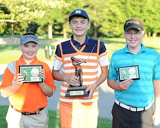 Ken Keller, center, won the 12-14 boys division Sunday of the 2013 Greatest Golfer of the Valley presented by Farmers National Bank at Trumbull Country Club. Cole Christman, left, won second in a scorecard playoff over Zach Jacobson, who took third.