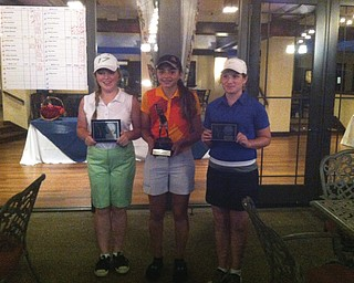 Jenny Vivo, center, won the girls 12-14 division. Kaci Carpernter, left, won 2nd in a scorecard playoff over Hannah Keffler, who earned 3rd. They competed in the finals of the 2013 Greatest Golfer of the Valley presented by Farmers National Bank at Trumbull Country Club.