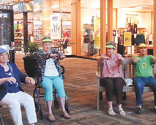 SPECIAL TO THE VINDICATOR Southern Park Mall in Boardman was the location of a recent visit by Whispering Pines Village residents, who spent the morning exercising and walking. From left are Skip Wetherald, Rosemary Magee, Miriam Walter, Ferne Oliver, Bob Buerkle and Anna Mae Byers.