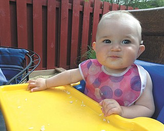 Jenna Hudock of Boardman sent this picture of her 8-month-daughter Addison Hudock, who is dining at home on the patio.