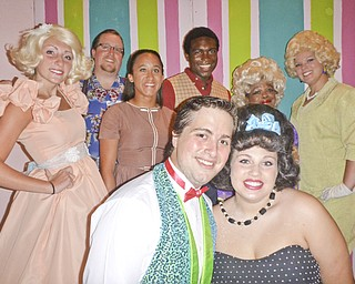 "The lead actors in the 40-member cast of Salem Community Theatre's production of ""Hairspray"" are (front row, from left) Nick Caruso and Morgan Zamarelli; (rear, from left) Rachel Ruggeri, Jeff Cornfi eld, Brittany Benedetti, William Tipton, Lois Thornton and Alaina Felgar."