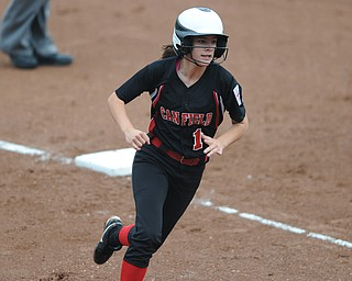 Canfield base runner #1 Bridget Sweeney rounds third base to head home and score the first Canfield run of the game game in the bottom of the bottom go the 3rd inning.
