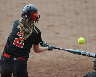 Canfield batter #2 Maddy Johns swings and makes contact with a pitch during a early plate appearance in Thursday mornings game against Michigan.