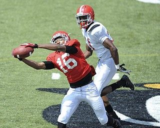 Youngstown State receiver #16 Marcel Caver catches a pass downfield after getting behind defensive back #31 David Rivers during a scrimmage on August 10, 2013.