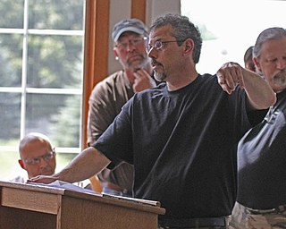 Founder of the Big Foot Research Group, Paul Hayes, talks about evidence of the existence of Sasquatch during a Big Foot Research Group meeting at the Leetonia Community Public Library in Leetonia on Saturday Morning.  Dustin Livesay  |  The Vindicator  8/10/13  Leetonia Community Public Library.