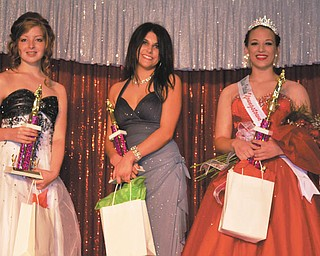 SPECIAL TO THE VINDICATOR The Greater Youngstown Italian Festival beauty pageant took place Aug. 2 downtown Youngstown. From left are Marisa Sergi, first runner-up; Michelle Rucci, second runner-up; and Alana Lesnansky, Miss Italian Youngstown 2013.