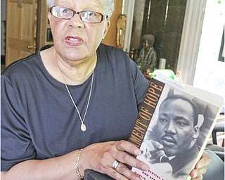 William d Lewis The Vindicator  Rev Gena Thornton in her Youngstown home 7-23-13. She was influenced by Dr. MLK jr I Have a Dream speech 50 years ago.