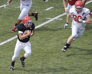 Youngstown State quarterback #3 Dante Nania scrambles with the football to pick to pick up the first down late in the scrimmage. Defensive linemen #90 Eric Myers chases him.