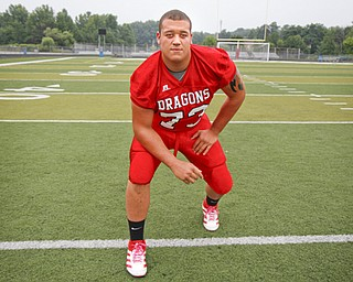 MADELYN P. HASTINGS | THE VINDICATOR..Josh Krok for the Niles football team, poses for a portrait at the Fitch Stadium on Saturday, July 27.... - -30-..