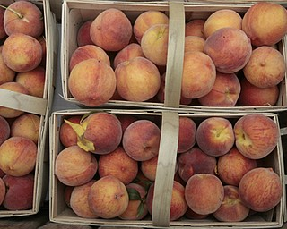 ROBERT K. YOSAY  | THE VINDICATOR..Peaches in baskets as they didnt get as dark but are still very fresh, and flavorful ..Huffmans fruit farm is faring pretty good with a wetter june and cooler july and august - crops  are slow but seem to be on target .. - -30-..