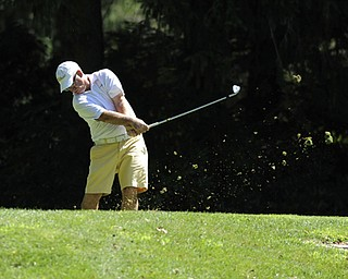 Golfer Ralph Macali of Warren tees off on the 9th hole Saturday afternoon at Youngstown Country Club as part of the Vindy Greatest Golfer tournament on August 24.