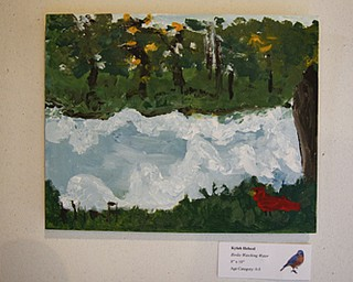 "MADELYN P. HASTINGS | THE VINDICATOR..The first place winner of the youth category was Kylah Helscel with her piece ""Birdie Watching Water"" in the LantermanÕs Mill art show which ran Friday-Sunday on the second floor of the mill. Artwork included photographs, paintings, and drawings..... - -30-.."