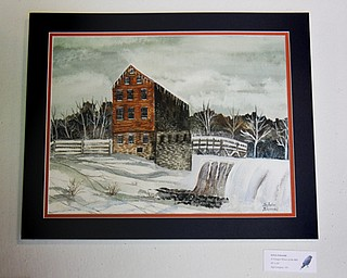 "MADELYN P. HASTINGS | THE VINDICATOR..The first place winner of the adult category was Sylvia Schezzini with her piece ""A Tranquil Winter at the Mill"" in the LantermanÕs Mill art show which ran Friday-Sunday on the second floor of the mill. Artwork included photographs, paintings, and drawings.... - -30-.."