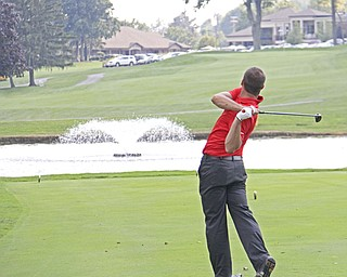 Griffin Todd tees off from the eighth hole of The Lake Club in Poland during the Greatest Golfer of the Valley tournament on Sunday.  Dustin Livesay  |  The Vindicator  8/25/13 Poland.