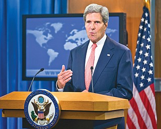 Secretary of State John Kerry speaks at the State Department in Washington on Monday about the situation in