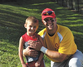 Jimmy Putko, 4, of Boardman, watched and cheered for his daddy, Jim, who played baseball. Sent by Casey Putko.