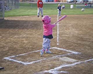 Katie Buttar of Niles puts everything she's got into this swing while playing T-ball, Her aunt, Rose Marsco, submitted the picture..