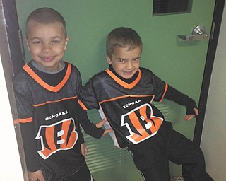 Teammates and best buds Tommy Varley and Jimmy Lipjanic, 6, both of Boardman, enjoyed flag football season. Sent by parents Tom and Kim Varley and Jim and Candace Lipjanic.