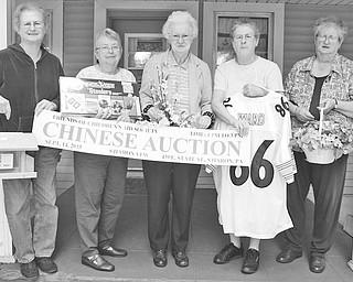 NANCY URCHAK | THE VINDICATOR Friends of the Children's Aid Society of Mercer County are sponsoring a basket auction from 1 to 3 p.m. Sept. 14 at Sharon VFW Post 1338, 439 E. State St., Sharon, Pa. (across from Daffin's Candies). Holding baskets for the auction, from left, are Betty Smith, Carol Clark, Joan Foster, Shirley Young and Phyllis Thompson. The cost of $3 includes 25 auction tickets, a hotdog and a beverage. Drawings will be at 3 p.m. All proceeds will benefit the Children's Aid Society of Mercer County.
