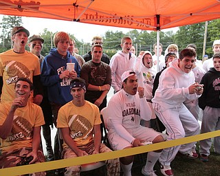 .          ROBERT  K. YOSAY | THE VINDICATOR.reacting to madden Sunny Lipari sr (poland Chase Knoble (senior Poland and Greg Thomas from boardman a senior and Donnie Dempsey far right jr from boardman..Boardman Spartans at Poland Bulldogs Stadium
