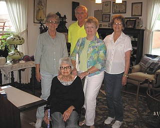 SPECIAL TO THE VINDICATOR On a recent afternoon six descendants of Charles and Ethel McBride visited the McBride House, Hager St., Hubbard, after visiting the museum's website. Visiting descendants are, seated, Helen Louise Donner, 95, of Greenville, Pa.; and standing, Beverly Minch, Leon Smith, Winifred Harris and Courtney Craig. They were rewarded with seeing Ethel McBride's wedding gown (1910) and numerous pictures and memorabilia. For information or to schedule a tour, call Cecilia Cooper at 330-534-4247.