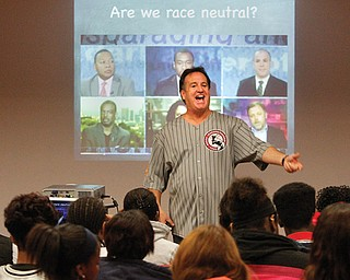 Jeff Steinberg of Sojourn to the Past, a civil-rights education program, speaks to Youngstown Early College students Monday in the Ohio Room in Youngstown State University's Kilcawley Center as part of Nonviolence Week.
