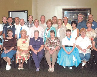 SPECIAL TO THE VINDICATOR Austintown Fitch High School Class of 1958 met Aug. 31 at Rachel's in Austintown for its 55th reunion. Participants, in front from left, are Connie (LaCivita) Raupach, Sandra (Koontz) Shessler, Pat (Brown) Williams, Carol (Proverbs) Brown, Elaine (Evans) Pickens, Karen (Shaw) Walter, Donna (Jenkins) Check, Pat (Kuty) Gibbons, Dianne (Tompkins) Miller, Veronica A. Terzak, Joan (Wester) Smith and Penny (Workman) Actonna; in the second row are Ed Bailey, Thomas Stellers, Frank Trio, Gene Shonce, Benjamin Burton, Dr. Robert Barton, Madalyne (Morrison) Pauley, Nancy (White) Wilhelm, Doll (Scardina) Rigby, Barbara Ann (Stone) Couche, Judy (Lanterman) Mellot, Shirley (Hendricks) Schmidt and Marie (Fortunato) LaCava; in back are George Tessean, R. Thomas Hood, Carl Leonhart, Richard Learn, Robert Williams, Fred Romeo, Robert Chestnut, John Nelson, Stan Leonard, Fred Bassett, Jack Tatarka, John Haydu and Atty. A. Robert Steiskal.