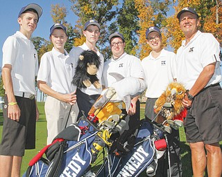 The Warrren JFK golfers, from left, Ryan Fowler, Ryan Theis, Zach Shoaf, Billy Phillips and Dan LaPolla, and their coach Jim St. George will be making their second consecutive trip to the Division III state golf tournament. Play begins Friday at The Ohio State University's Scarlet Course in Columbus.