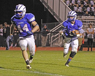 .          ROBERT  K. YOSAY | THE VINDICATOR..WR  #5 Danny Rosati follows #44  Dan Zilke into the  end zone in the fourth quarter but it was called back on a hold...Lowellville at Western Reserver