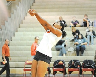 Howland's Christian Carr hits the ball back over the net during Monday night's game against Twinsburg at Stow High School. The Tigers lost in three sets.