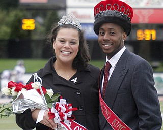 MADELYN P. HASTINGS | THE VINDICATOR..(L-R) 2013 YSU homecoming king and queen Melissa Wasser and Tyler Brentley pose for a portrait after being announced the winners during half time of the YSU vs Western Illinois game on October 19, 2013.... - -30-..