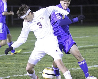 William D Lewis The Vindicator South Ranges (3) and Lake Center's (3) battle for the ball during  Tuesday action at SR.