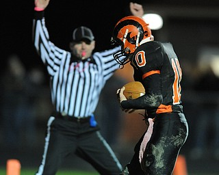 Ridge #10 Michael Eaton gains possession of the football in the end zone to score a touchdown late in the first half.