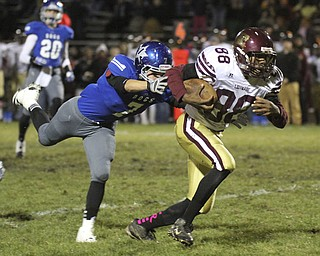 William D Lewis The Vindicator  Liberty's Cameron Clark(88) heads for a 1first qtr TD as Lakeview's  Carmen Romano(7) defends during Friday 10-25-13 action at Lakeview.