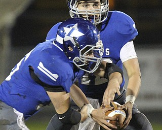 William D LEwis The Vindicator  Lakeview QB Angelo Marino(12) fakes a hand off to Michael Mannella(35) during 10-25-13 action at LAkeview.