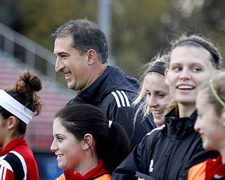 MADELYN P. HASTINGS | THE VINDICATOR..Canfield boys and girls soccer coach Phil Simone coaches girls practice on October 28. Both teams are competing in regionals this week.... - -30-..