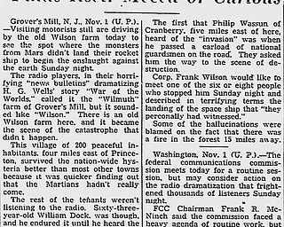 November 1, 1938 - Youngstown Vindicator | Article about the location where monsters from Mars landed, according to the radio broadcast of War of the Worlds.